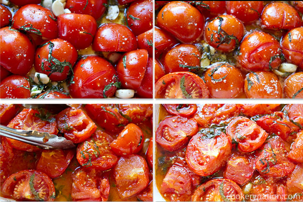 The total cook time will be approximately 2.5 hours. Set a timer for 30 minutes and then turn the tomatoes.