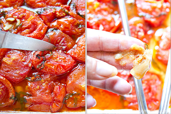 After the first 30 minutes, set a timer for one hour increments. They are done when the skins and flesh are soft and the garlic is mushy. Remove from the oven and allow the tomatoes to cool down.
