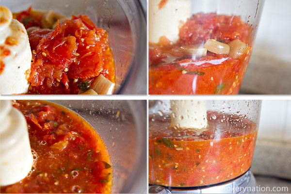 Transfer the tomatoes to a food processor or blender. Blend or process to your desired consistency. I like it a bit chunky, so I just pulse it a couple of times.