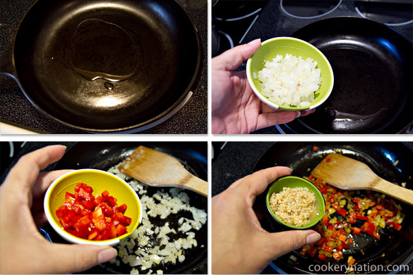 Heat a pan (use a deeper soup pot instead of a fry pan like the one pictured) over medium-high heat. Add onions, peppers and garlic and saute for 3 - 5 minutes.