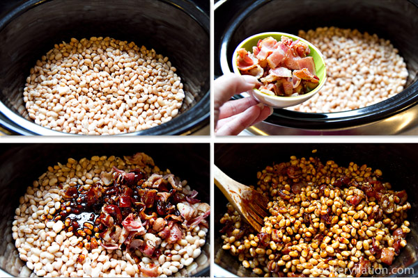 Place beans, bacon and heated mixture into slow cooker and stir well.