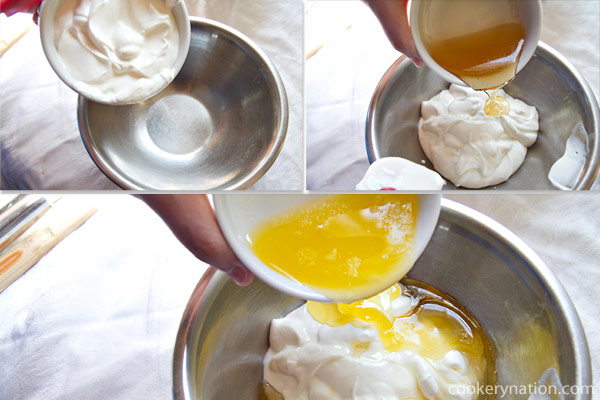 Combine all of the wet ingredients (butter, yogurt, honey) in another bowl.