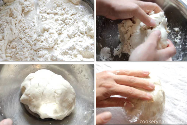 Add half of the arm water and mix well with your hands. Keep adding water until the dough is no longer crumbling but it is not sticky either. You may need more or less water, depending on you kitchen's humidity level. Once done adding water, cover the dough in plastic and let it rest for 15 - 30 minutes. More time is fine as well.