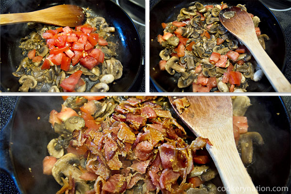 Add the tomatoes and cook for only about 1 minute. We just want to warm the tomatoes, not cook them until they are mushy. Add cooked, chopped bacon.