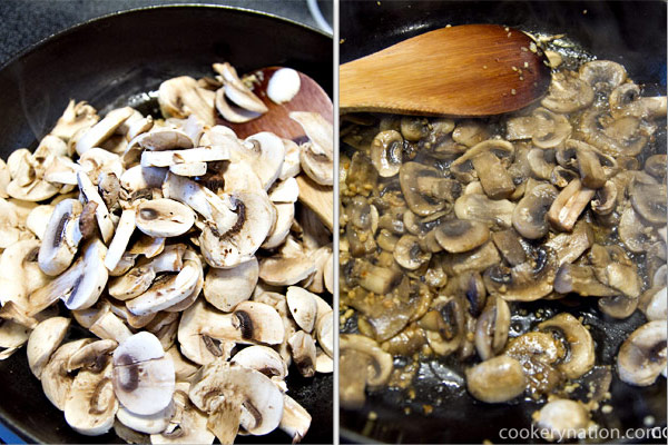 Add the mushrooms and cook for 2-3 minutes. You will know when the mushrooms are done when they are brown and slightly shrunken.