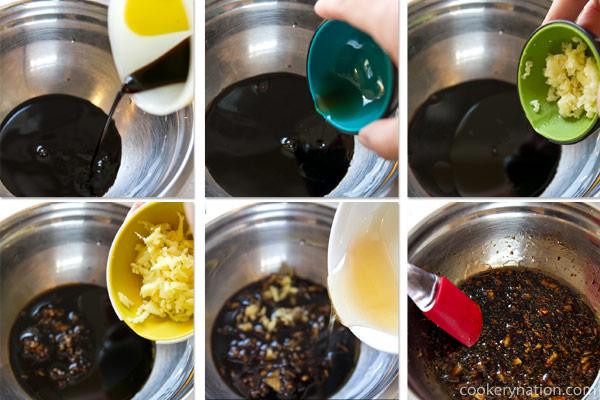 Combine soy sauce, sesame oil, garlic, ginger and honey. Stir well.