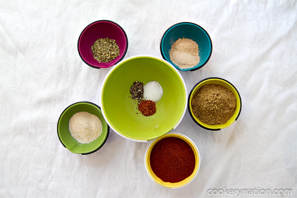 Gather all of the ingredients. Combine and mix well. Transfer into a clean spice jar. To keep it fresh, store in a cupboard or drawer away from direct sunlight or heat.