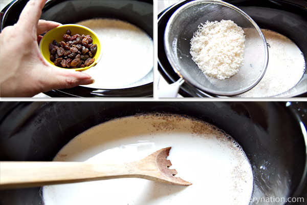 Add the raisins and rice to slow cooker. Stir to combine.