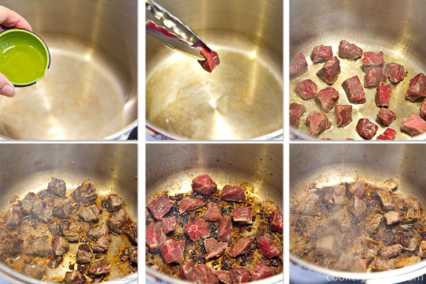 Place oil in the pressure cooker and heat over medium high heat. Once the pot is quite hot, sear the meat. If the meat does not sizzle, let the pot heat up some more. Turn the heat down to Medium if the meat is spitting, so that it won't burn. Do not overcrowd meat (the pieces should not touch) and do it in batches if needed. Once seared, remove from pot.