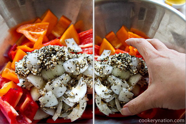 Add onion mixture to the peppers. Use your hands to make sure that all of the peppers are well coated with the oil and spices.