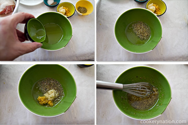 Combine the oil, salt, pepper, oregano, garlic, and lemon zest into a small bowl and stir.
