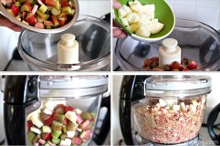 Put rhubarb and apple in food processor or blender. Process for about a minute or until it is almost smooth.