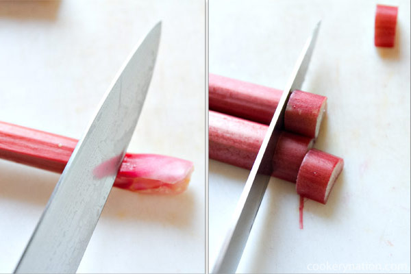 Wash the rhubarb and trim the ends. Slice the rhubarb.