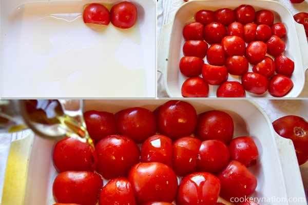 Place the tomatoes into the pan and drizzle with the rest of the oil.