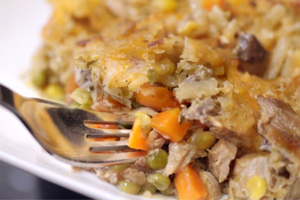 Chicken Pot Pie with Hashbrown Topping